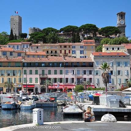 The historic Suquet district in Cannes overlooks the old harbor.